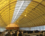 Tensioned membrane building with an arched roof